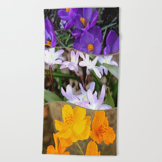 Spring Floral Collage Beach Towel