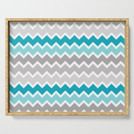 Turquoise Teal Blue Gray Chevron Serving Tray