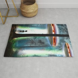 UFO Alien Forest / Flying Saucers Rug