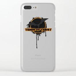Halloween Trick or treat spooky black orange bat on a dark occult autumn night Clear iPhone Case