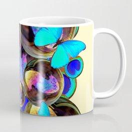 IRIDESCENT  BUBBLES BLUE BUTTERFLIES PEACOCK EYES ART DESIGN decor, furnishings Coffee Mug