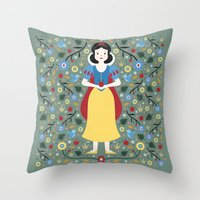 snow white Throw Pillows featuring Snow White  by Carly Watts