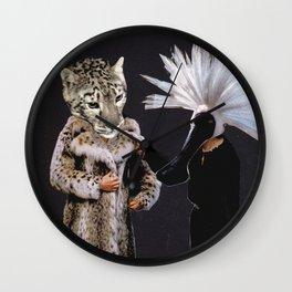 reunited/leopard skin coat Wall Clock