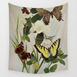 Vintage Butterflies in Nature Illustration (1899) Wall Tapestry