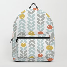 Mid Century Modern Retro Leaf and Circle Pattern Backpack