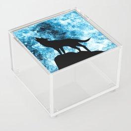Howling Winter Wolf snowy blue smoke Acrylic Box