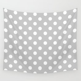 Polka Dots (White & Gray Pattern) Wall Tapestry
