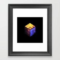 Nebula Cube - Black Framed Art Print