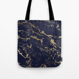 Modern luxury chic navy blue gold marble pattern Tote Bag