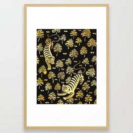 Tiger jungle animal pattern Framed Art Print