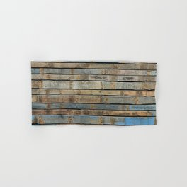 distressed wood wall - Blue and brown planks Hand & Bath Towel