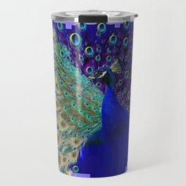 Puce Purple Blue Peacock Abstract Art Travel Mug