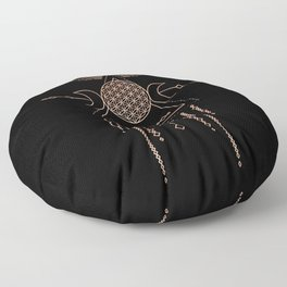 Mandala Flower of Life Rose Gold Pink Floor Pillow