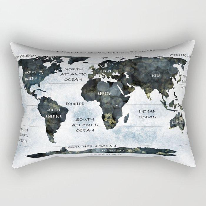 A WORLD MAP - CONTINENTS AND OCEANS Rectangular Pillow