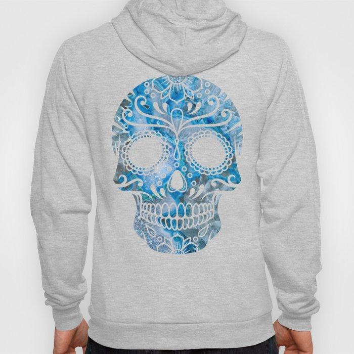 Blue Lace Sugar Skull Hoody