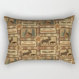 Moose Cabin Rectangular Pillow