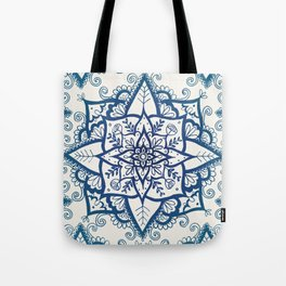 Blue Floral Pattern on Cream Tote Bag
