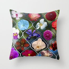 Flowering Fence Throw Pillow