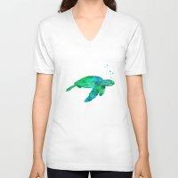 sea turtle V-neck T-shirts featuring Sea Turtle  by MacDonald Creative Studios