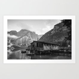 House on Water (Black and White) Art Print