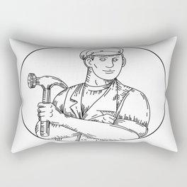 Vintage Carpenter Hammer Mono Line Rectangular Pillow