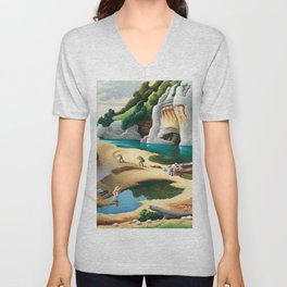 Classical Masterpiece 'Swimming Hole in American West' by Thomas Hart Benton Unisex V-Neck