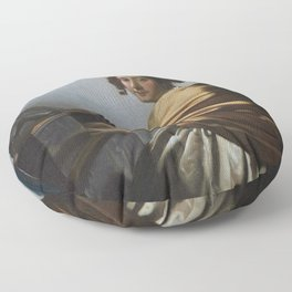 """Johannes Vermeer """"A Young Woman Seated at the Virginal"""" Floor Pillow"""