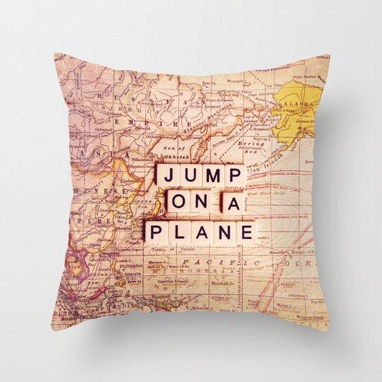 jump on a plane Throw Pillow