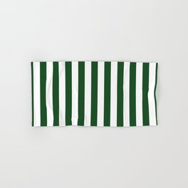 Large Forest Green and White Rustic Vertical Beach Stripes Hand & Bath Towel