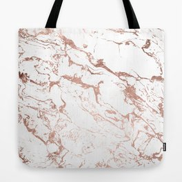 Modern chic faux rose gold white marble pattern Tote Bag