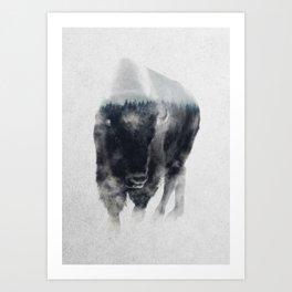 Bison In Mist Art Print