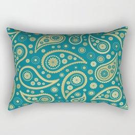 Paisley Funky Design Gold & Teal Rectangular Pillow