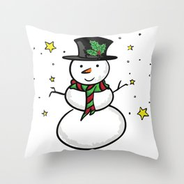 Snowman and the stars Throw Pillow