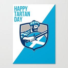 Happy Tartan Day Highlander Greeting Card Canvas Print