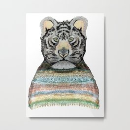 Tiger Knit Metal Print