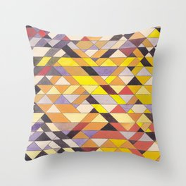 Triangle Pattern No.8 Black and Yellow Throw Pillow