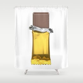 Chocolate candy bar in gold wrapper Shower Curtain