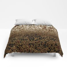 Caramelized Chocolate Brown Wet Crackle Pattern Comforters