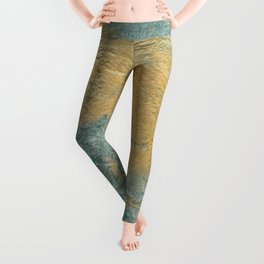 Copper Turquoise #03 Abstract Texture Leggings
