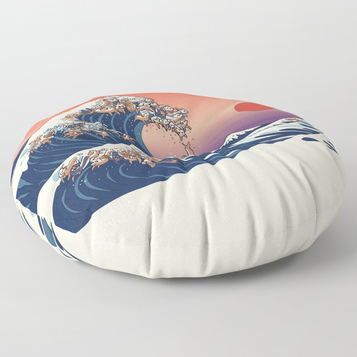 The Great Wave of Dachshunds Floor Pillow