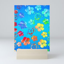 Tie Dye Honu And Hibiscus Mini Art Print