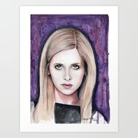 buffy Art Prints featuring Buffy Summers by Morgan Allain, The Inkling Girl