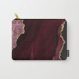 Agate, Burgundy Pink Faux Gold Carry-All Pouch