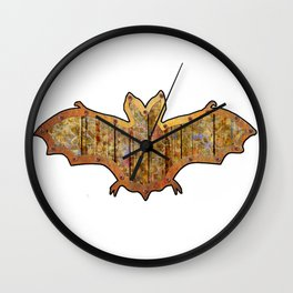 Battered Wooden Halloween Bat Decoration In A Retro Style Wall Clock