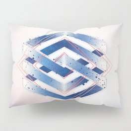 Indigo Hexagon :: Floating Geometry Pillow Sham