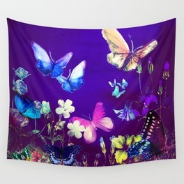 Night Butterflies Wall Tapestry