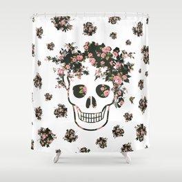 Flower Skull, Floral Skull, Pink Flowers on Human Skull Shower Curtain