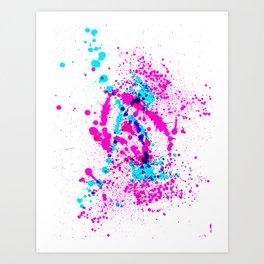 Energetic Expressive Hot Pink Paint Splatter Art Print