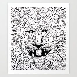 Trippy Lion Mane Painting on Canvas Art Print