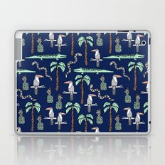 Tropical alligator palm trees toucan pattern by andrea lauren drawing illustration navy Laptop & iPad Skin